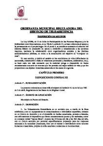 ORDENANZA MUNICIPAL REGULADORA DEL SERVICIO DE TELEASISTENCIA