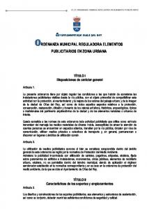 ORDENANZA MUNICIPAL REGULADORA ELEMENTOS