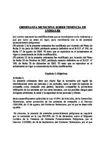 ORDENANZA MUNICIPAL SOBRE TENENCIA DE ANIMALES