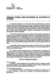 ORDENANZA MUNICIPAL SOBRE VOLUNTARIADO DEL AYUNTAMIENTO DE CALAHORRA