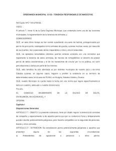 ORDENANZA MUNICIPAL TENENCIA RESPONSABLE DE MASCOTAS