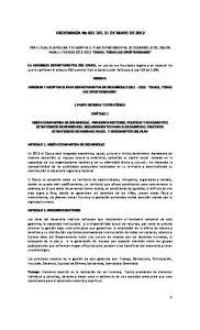 ORDENANZA No 031 DEL 31 DE MAYO DE 2012