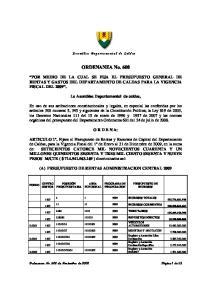 ORDENANZA No. 608 POR MEDIO DE LA CUAL SE FIJA EL PRESUPUESTO GENERAL DE RENTAS Y GASTOS DEL DEPARTAMENTO DE CALDAS PARA LA VIGENCIA FISCAL DEL 2009