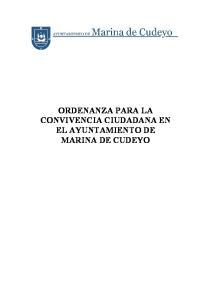 ORDENANZA PARA LA CONVIVENCIA CIUDADANA EN EL AYUNTAMIENTO DE MARINA DE CUDEYO