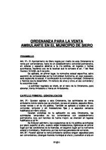ORDENANZA PARA LA VENTA AMBULANTE EN EL MUNICIPIO DE SIERO