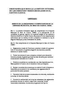 ORDENANZA QUE REGULA LA GESTION INTEGRAL DE LOS DESECHOS Y RESIDUOS SOLIDOS EN EL CANTON CUENCA