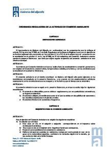 ORDENANZA REGULADORA DE LA ACTIVIDAD DE COMERCIO AMBULANTE