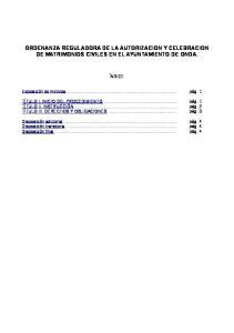 ORDENANZA REGULADORA DE LA AUTORIZACION Y CELEBRACION DE MATRIMONIOS CIVILES EN EL AYUNTAMIENTO DE ONDA