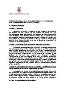 ORDENANZA REGULADORA DE LA OCUPACION DE LA VIA PUBLICA CON TERRAZAS Y ESTRUCTURAS AUXILIARES