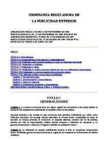 ORDENANZA REGULADORA DE LA PUBLICIDAD EXTERIOR