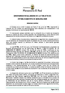 ORDENANZA REGULADORA DE LA TARJETA DE ESTABLECIMIENTO DE MINUVALIDOS