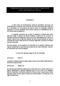 ORDENANZA REGULADORA DE LA VENTA AMBULANTE EN EL MUNICIPIO DE TOLOSA