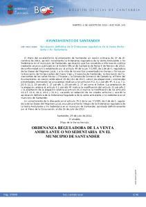 ORDENANZA REGULADORA DE LA VENTA AMBULANTE O NO SEDENTARIA EN EL MUNICIPIO DE SANTANDER