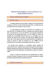 ORDENANZA REGULADORA DE LA VENTA AMBULANTE Y DE LAS ACTIVIDADES FERIALES