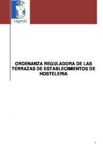 ORDENANZA REGULADORA DE LAS TERRAZAS DE ESTABLECIMIENTOS DE HOSTELERIA