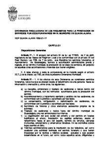 ORDENANZA REGULADORA DE LOS REQUISITOS PARA LA PRESTACION DE SERVICIOS PUBLICOS FUNERARIOS EN EL MUNICIPIO DE GUADALAJARA
