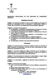 ORDENANZA REGULADORA DE LOS SERVICIOS DE CEMENTERIO MUNICIPAL. Disposiciones Generales