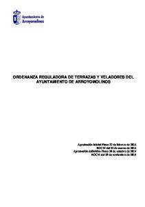 ORDENANZA REGULADORA DE TERRAZAS Y VELADORES DEL AYUNTAMIENTO DE ARROYOMOLINOS