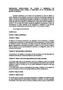 ORDENANZA REGULADORA DE VADOS Y RESERVAS DE APARCAMIENTO PARA CARGA Y DESCARGA EN EL MUNICIPIO DE QUART DE POBLET