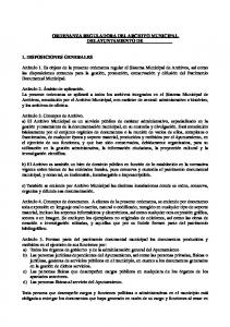 ORDENANZA REGULADORA DEL ARCHIVO MUNICIPAL DEL AYUNTAMIENTO DE