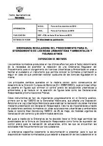 ORDENANZA REGULADORA DEL PROCEDIMIENTO PARA EL OTORGAMIENTO DE LICENCIAS URBANISTICAS Y AMBIENTALES Y FIGURAS AFINES