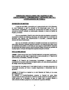 ORDENANZA REGULADORA DEL RASTRILLO DEL COLECCIONISTA, CURIOSIDADES Y ARTESANIA DEL M. I. AYUNTAMIENTO DE TUDELA