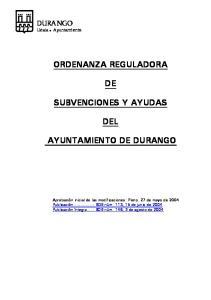 ORDENANZA REGULADORA SUBVENCIONES Y AYUDAS DEL AYUNTAMIENTO DE DURANGO