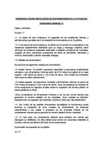 ORDENANZA SOBRE INSTALACION DE CONTENEDORES EN LA VIA PUBLICA ORDENANZA NUMERO 12