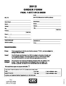 ORDER FORM FAX: Postal Code