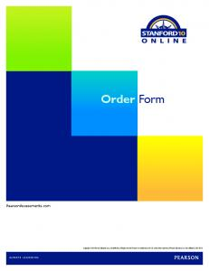 Order Form. PearsonAssessments.com