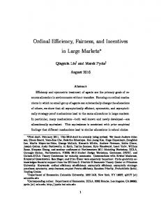 Ordinal Efficiency, Fairness, and Incentives in Large Markets
