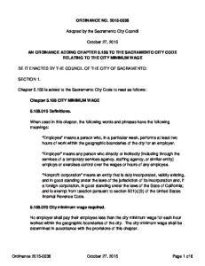 ORDINANCE NO Adopted by the Sacramento City Council. October 27, 2015