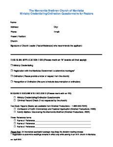 Ordination Questionnaire for Pastors