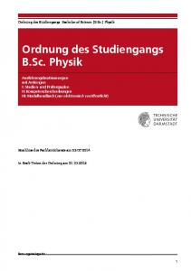 Ordnung des Studiengangs B.Sc. Physik
