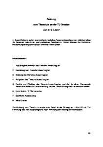Ordnung. zum Tierschutz an der TU Dresden