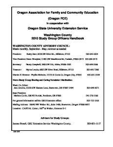 Oregon Association for Family and Community Education. (Oregon FCE) Oregon State University Extension Service