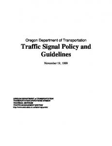 Oregon Department of Transportation Traffic Signal Policy and Guidelines