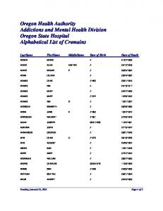Oregon Health Authority Addictions and Mental Health Division Oregon State Hospital Alphabetical List of Cremains