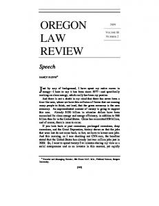 OREGON LAW REVIEW. Speech VOLUME 88 NUMBER 2
