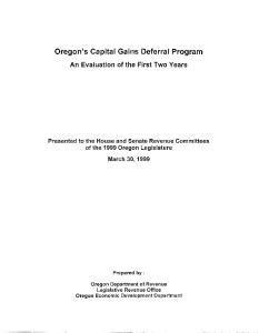 Oregon's Capital Gains Deferral Program