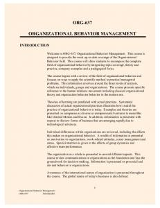 ORG-637 ORGANIZATIONAL BEHAVIOR MANAGEMENT