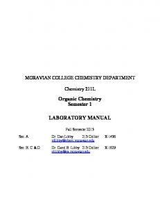 Organic Chemistry Semester 1 LABORATORY MANUAL