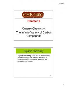 Organic Chemistry: The Infinite Variety of Carbon Compounds