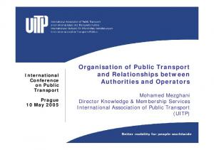 Organisation of Public Transport and Relationships between Authorities and Operators