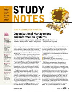 Organisational Management and Information Systems
