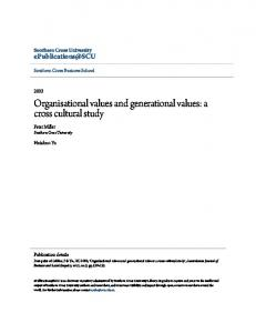 Organisational values and generational values: a cross cultural study