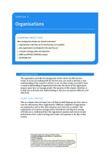 Organisations. chapter 1. introduction. using this chapter. learning Objectives