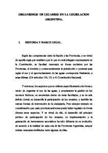 ORGANISMOS DE USUARIOS EN LA LEGISLACION ARGENTINA