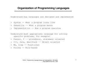Organization of Programming Languages