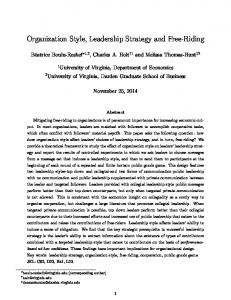 Organization Style, Leadership Strategy and Free-Riding
